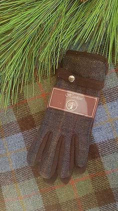 Wool-blend Hawkins blue brown checktweed gloves