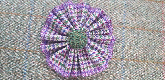 Handmade rosette flower tweed brooch made from 100% wool,