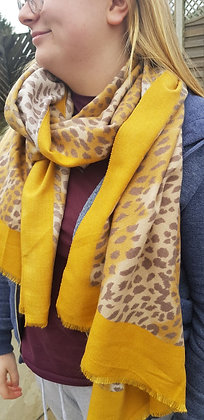 Supersoft leopard print scarf with a mustard border