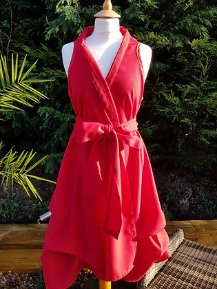 Juicy red handmade wrap dress