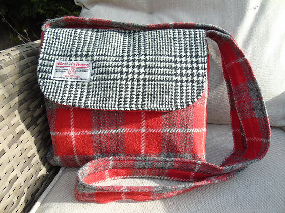 Handmade small messenger bag made from red, grey and white check Harris Tweed