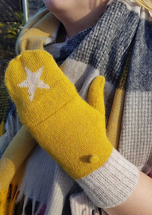 Knitted wool blend mitten gloves, mustard and cream with a star.