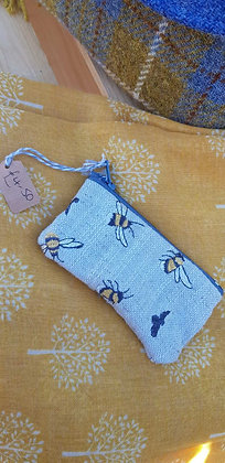 Handmade bee case with appliqued bees