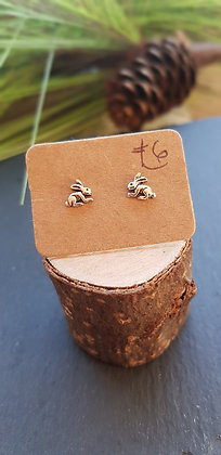 925 sterling silver rabbit hare earrings with sterling silver butterfly backs