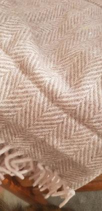 Pink and mushroom herringbone wool-rich blend super soft blanket