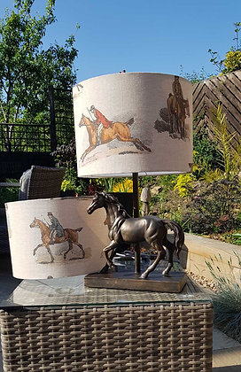 Handmade traditional vintage style horse and jockey lampshade