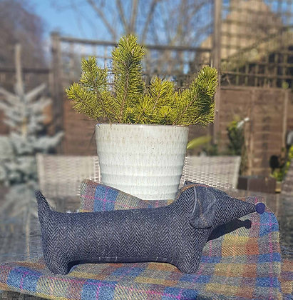 Stuffed plush dachshund. Beautiful navy blue and black herringbone Harris Tweed