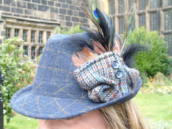A one-off hand trimmed country blue trilby