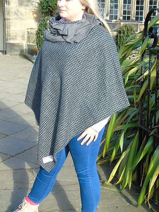One-off handmade poncho made from grey and black dogtooth Harris Tweed
