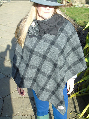 One-off handmade poncho made from grey and black check Harris Tweed