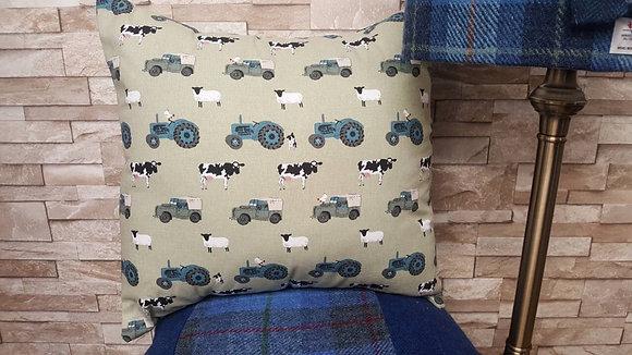 Handmade farmyard cushion, cows, sheep, chicken and farmyard vehicles
