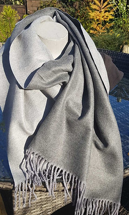 Supersoft tasseled extra large cashmere blend scarf grey