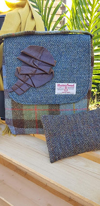One-off handmade cross over body bag, made from Harris Tweed wool