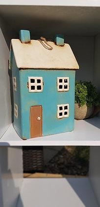 Extra large tea light. Gorgeous aqua blue house