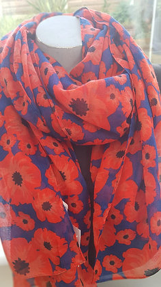 navy blue scarf with full red poppies