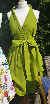 Handmade wrap dress in a gorgeous cactus green