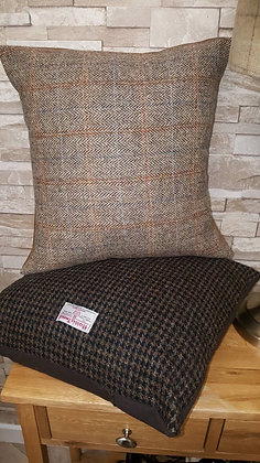 Fawn brown 8x8 herringbone weave with a rust and blue overcheck.