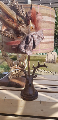 One-off handmade brown, tan with a slight pinkcheck tweed lampshade