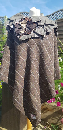 Hand-made, one-off winter poncho made using Harris Tweed wool