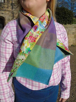 Handmade scarf made from handloomed wool, lined with Tana Lawn liberty cotton