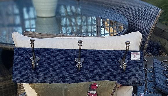 Handmade coat hook, made usingHarris tweed navy blue herringbone