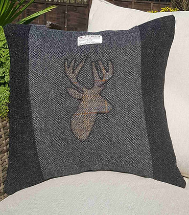 One-off handmade and appliqued cushion made from Harris Tweed.