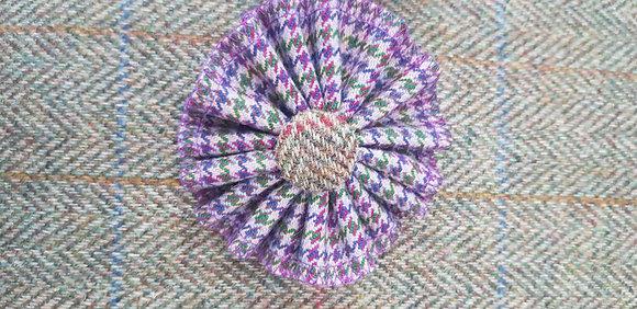 Handmade rosette flower tweed brooch made from 100%wool.
