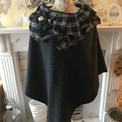 One-off, handmade 100% wool poncho, made from charcoal Harris Tweed wool