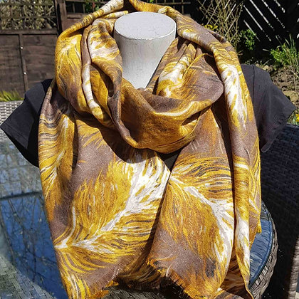 Supersoft mustard and tan feather scarf