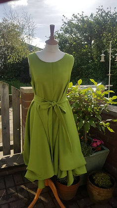 Handmade ruched Alice dress in cactus