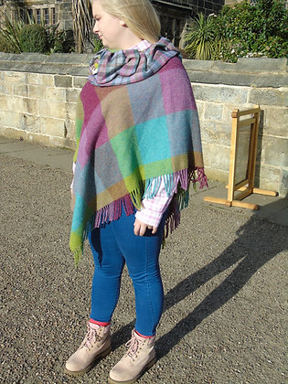 One-off handmade poncho made from 100% lambswool
