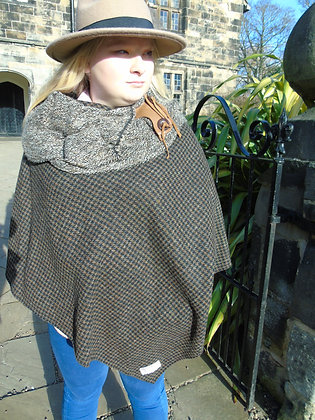 One-off handmade poncho made from brown and black dogtoothHarris Tweed