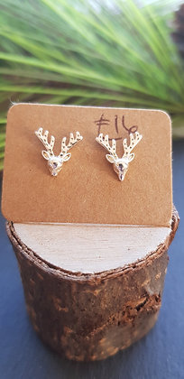 925 sterling stag heads earringswith soft rubber backs