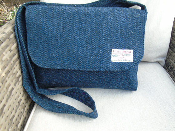 Handmade large messenger bag made from navy blue herringbone Harris Tweed