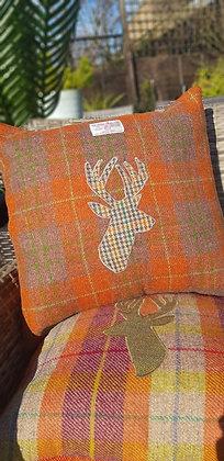 Handmade orange and Tan Harris Tweed check cushion