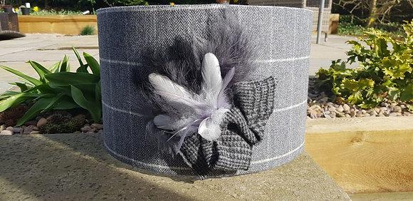 40cm grey herringbone with a white windowpane tweed drum with feathers