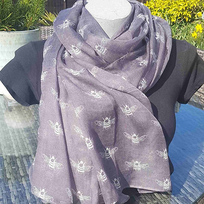 "White bees on a mid-grey lightweight fashion scarf. Approximately 74"" x 36"""