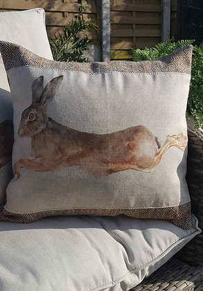 Handmade leaping hare cushion with Harris Tweed panelling