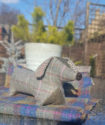 Stuffed plush dachshund. Beautiful sage green Yorskshire tweed