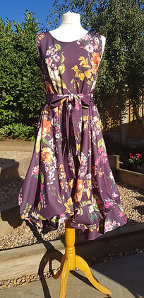 Handmade limited edition floral plum dress