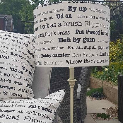 Handmade Yorkshire sayings 30cm lampshade