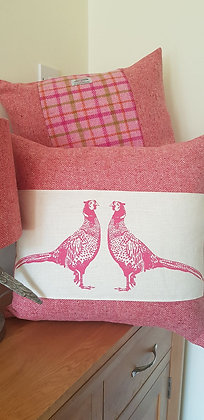 Handmade pink pheasant cushions, made with Barnaby Gates fabric