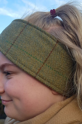 Hawkins tweed headband, brown fleeced lined