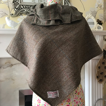 Handmade child's poncho made from Harris Tweed