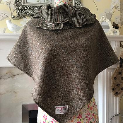 Handmade child's poncho made from Harris Tweed