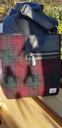 Maccessori medium cross body bag made from Lindsay tartanHarris Tweed wool