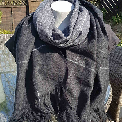 Super-soft black and grey checked wool blend scarf