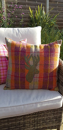 One-off handmade orange, pinks and oatmelas cushion