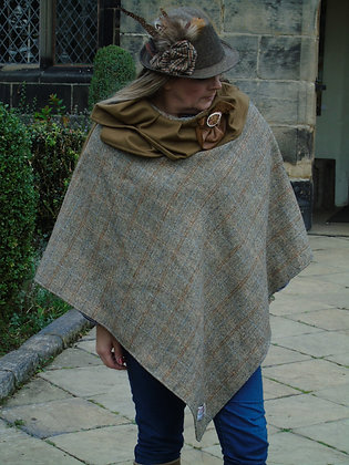 One-off handmade poncho made from Harris Tweed virgin wool