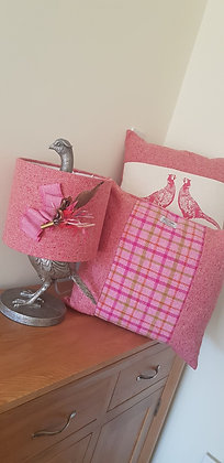 Handmade pink cushion made with Harris Tweed wool, side panels and back